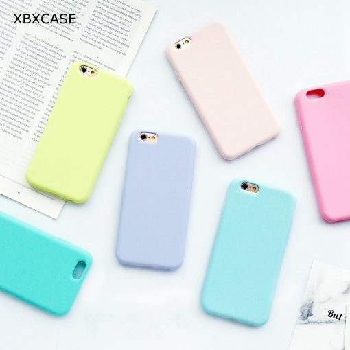 Coque iPhone macaron en silicone pour l'iphone 6 6 S 5 5S SE 8 Plus X 7 1