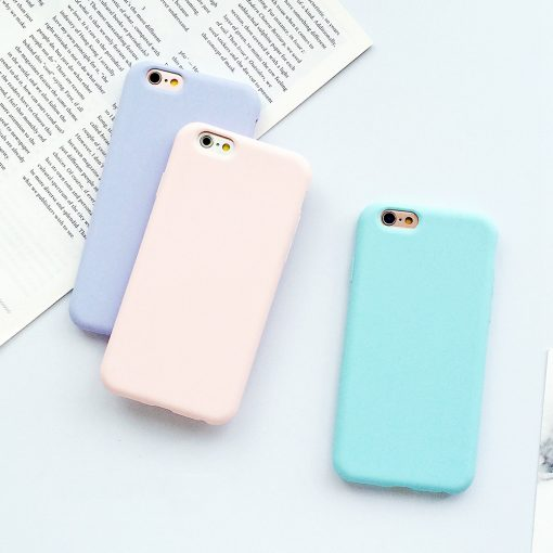 Coque iPhone macaron en silicone pour l'iphone 6 6 S 5 5S SE 8 Plus X 7 3
